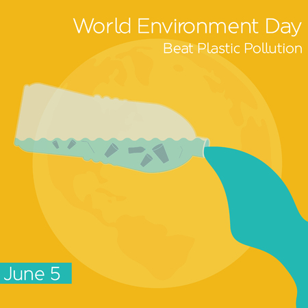 Vector concept illustration for the World Environment Day with plastic pollution and bottle. Illustration
