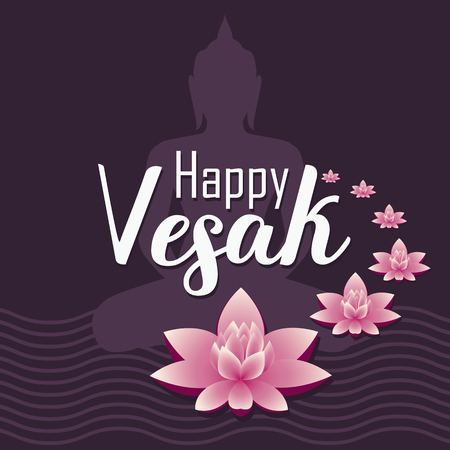 Vector illustration greeting card for Vesak day. Pink lotus flower with buddhas silhouette.