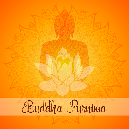 Vector illustration for Buddha Purnima. Mandala, lotus flower with buddhas silhouette.