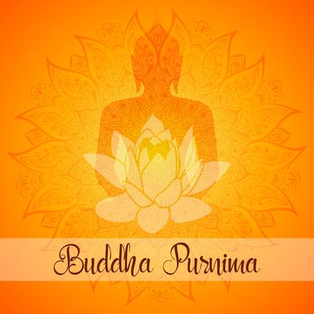 Vector illustration for Buddha Purnima. Mandala, lotus flower with buddhas silhouette.