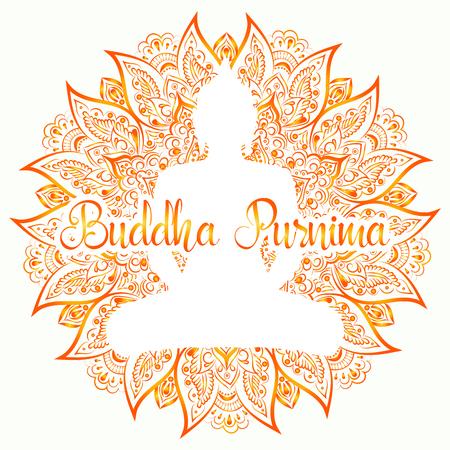 Buddha Purnima Vector illustration. Mandala, lotus flower with buddhas silhouette on the white background.