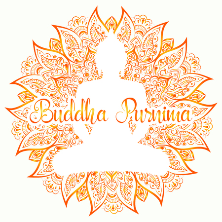 Buddha Purnima Vector illustration. Mandala, lotus flower with buddhas silhouette on the white background.