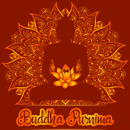 Vector illustration for Buddha Purnima. Mandala and Lotus flower with buddhas silhouette.