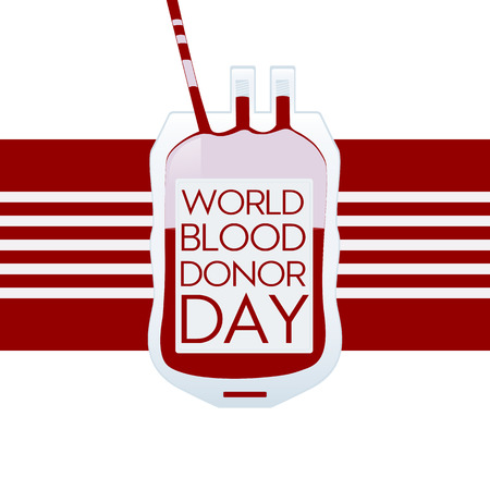 World blood donor day modern concept banner. Vector illustration with blood pack.