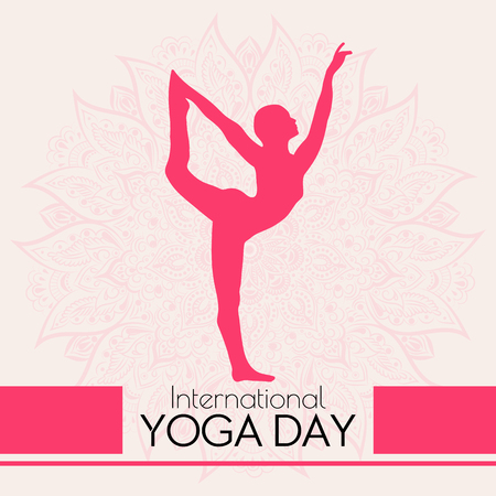 Concept illustration for the International Yoga day with a beautiful mandala and asana natarajasana pose silhouette. Vectores