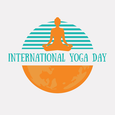 Design concept logotype for the International Yoga day with planet Earth and lotus pose silhouette.