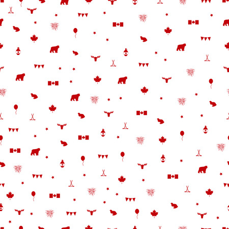 Canada Day symbols seamless pattern. Vector illustration.
