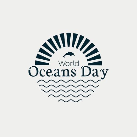 World Oceans Day modern concept monochrome logo with waves, sun and dolphins.