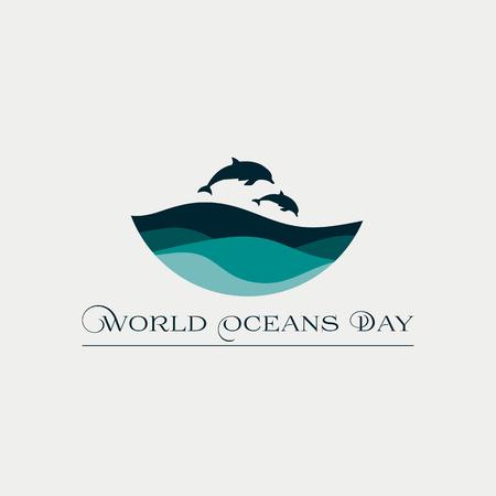 Hermosa tarjeta de concepto para el Día Mundial de los Océanos con olas y delfines. Ilustración de vector