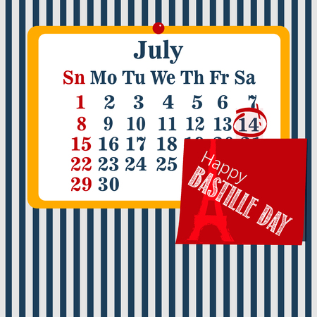 Vector illustration calendar for the 14th of July. Happy Bastille Day. Illustration