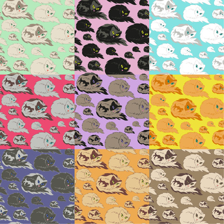 whisker characters: Cat Seamless Pattern 9 variaciones de color, ilustraci�n vectorial