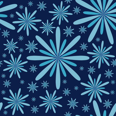 Blue Flowers Seamless Pattern  Effective and bewitching seamless texture with blue flowers, vector illustration Vector