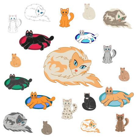 Set Of 20 Cartoon Cats  20 cheerful kittens, vector illustration Vector
