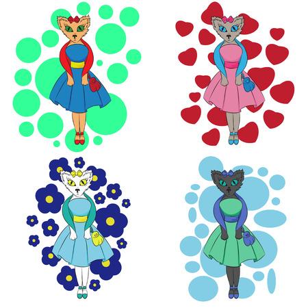 очаровательный: Очаровательная мультфильм Кот в 4 цветовых вариаций, векторные иллюстрации Иллюстрация