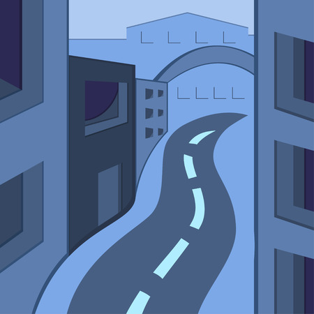 illustration of a town in gray-blue colors Vector