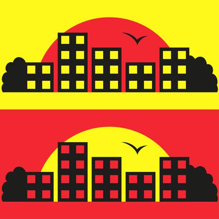 contraste: Contraste Ciudad silueta ilustraci�n Vectores