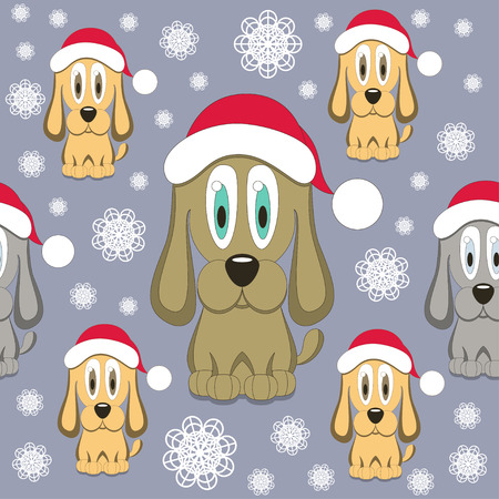 Christmas Dog Seamless Pattern Vector
