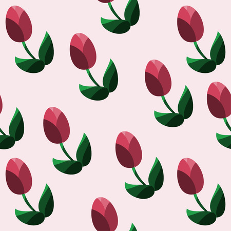 Seamless pattern with red tulips Vector