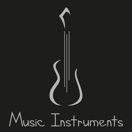 kemény: Hangszerek boltban szimbólum gitárral