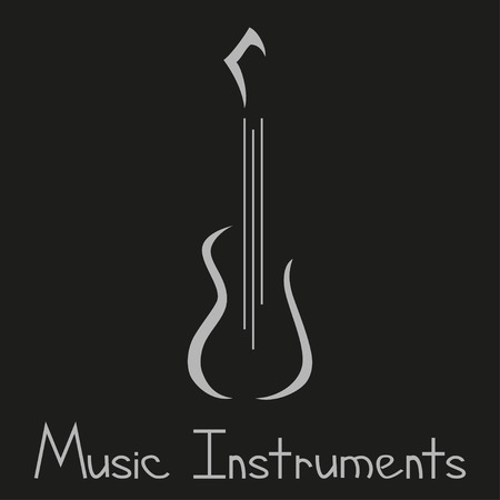 Musical instruments store symbol with guitar Vector