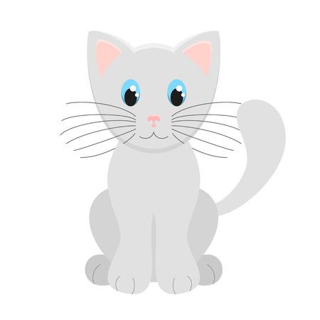 grey cat: Cute Light Grey Kitten Vector Illustration On White Background. Vector illustration of cutest white cat, transparency and blending modes Illustration