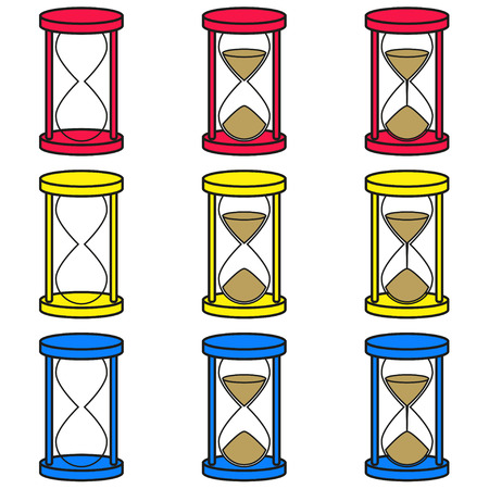 Vector hourglass icons set in 3 colors on white background  Vector illustration of hourglasses icons set, 3 colors, on white background, internet, computer, download Vector
