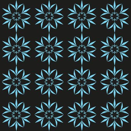 Cyan flower seamless pattern  Vector illustration Vector