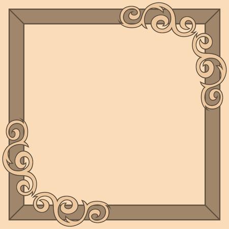 Brown decorative ornate frame. Vector illustration, album, clip-art, greeting card Vector