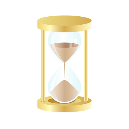 Vector gold hourglass icon on white background. Vector illustration of hourglass, icon, gold colors, on white background, internet, computer, download, without transparency and blending modes Vector