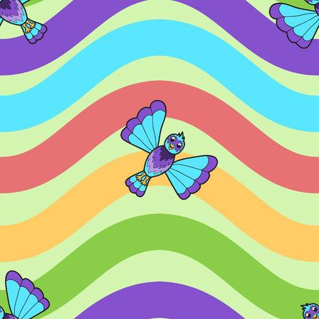 Seamless pattern of fantastic bluebird on rainbow wavy background. Vector illustration Vector