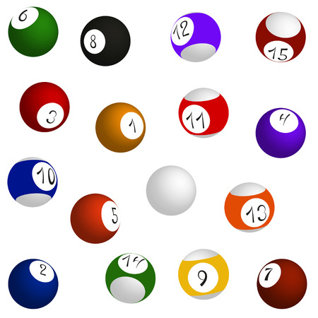 Billiard balls set, sixteen balls in different positions, vector illustration Vector