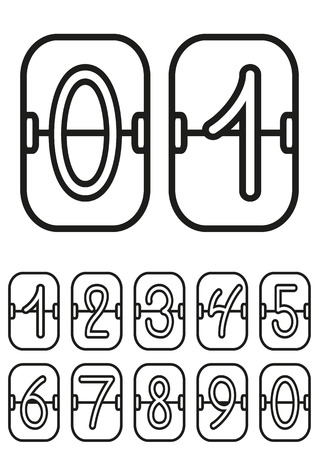 Countdown timer, scoreboard with hand drawing digits, hand drawing numbers, vector illustration Vector