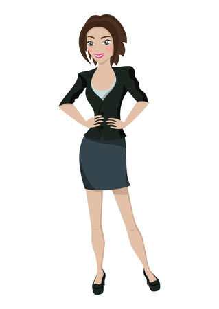Business woman, smiling character on white background, vector illustration Vector