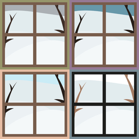 window view: Winter view from the window, 4 colors, vector illustration