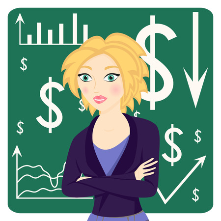 arms folded: Business woman wearing a suit and her arms folded on chart background, vector illustration