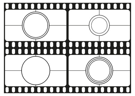 roll curtains: Film countdown templates, movie theater frame, film strips border, vector illustration