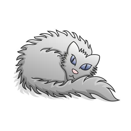 grey cat: Light Grey Fluffy Cat Illustration.  Illustration