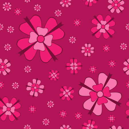 cowberry: Cowberry flowers with bows seamless pattern.  Illustration
