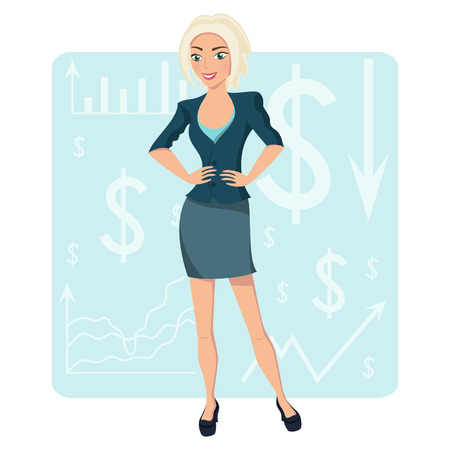 asian business people: Blond business woman, smiling character on chart background