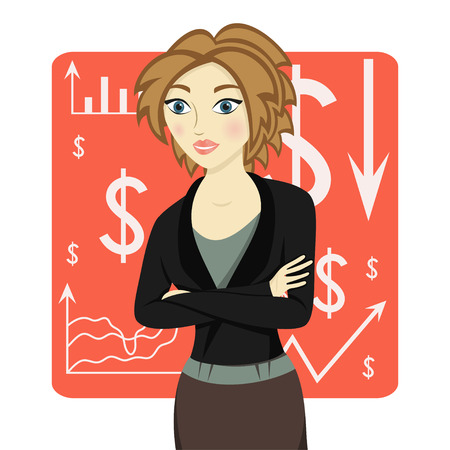 arms folded: Brown-haired business woman wearing a suit and her arms folded on red chart background