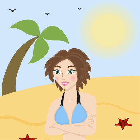 bathing suit: Beautiful woman in a bathing suit on the beach, illustration