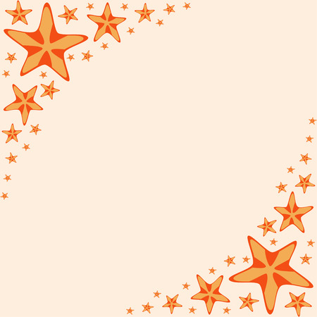 Decorative frame with orange cartoon starfishes, vector illustration Vector