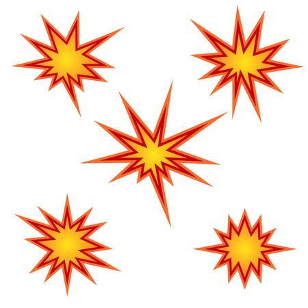 Bursting star set, vector illustration 일러스트