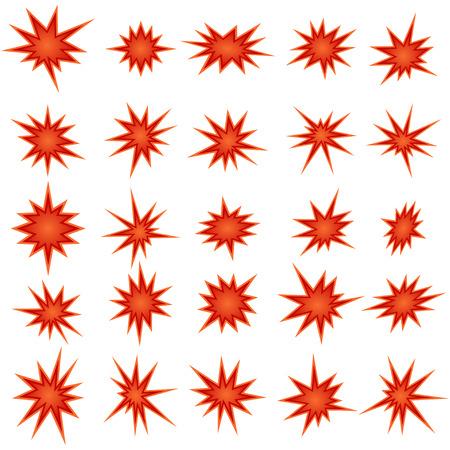 Bursting star set, vector illustration Illustration