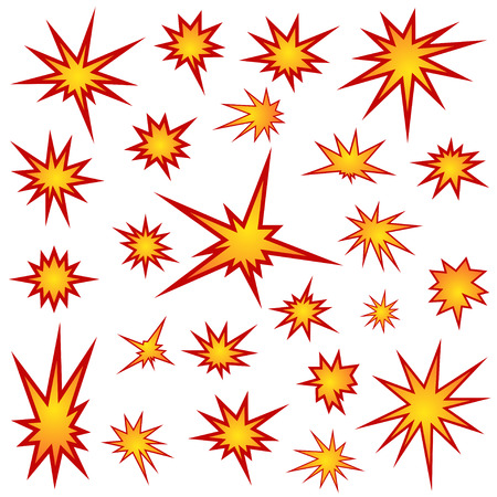 Bursting star set illustration
