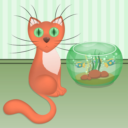 Cartoon red cat and aquarium with fishes at the wall on the floor, vector illustration, eps10 Vector