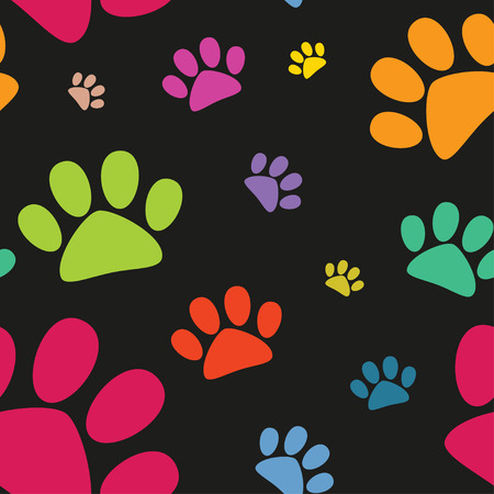 Funny animal footprint seamless pattern Vector