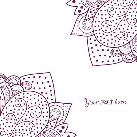 Vintage invitation corners on white background with lace ornament Vector