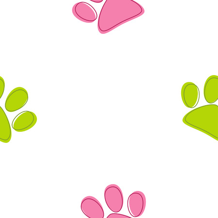 Funny seamless pattern with cat paw footprints