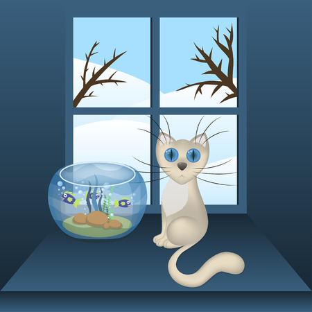 window sill: Cartoon white cat and aquarium with fishes on a window sill, vector illustration, eps10 Illustration